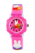 Keymao Rabbit Plastic Waterproof 3D Cute Cartoon  Silicone Wristwatches Gift for Little Girls Boy Kids Children Pink