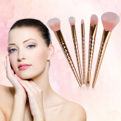 [Kingstore]5 Pcs/Set Double Head Threaded Rod Design Comfortable Makeup Brush Kit