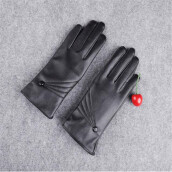 BESSKY Luxurious Women Girl Leather Winter Super Warm Gloves Cashmere- Black