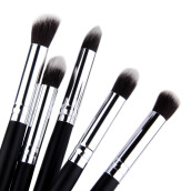 [Kingstore]5 pcs Silver Black Soft Synthetic Small Blending Foundation Concealer Brush