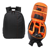 Orange Waterproof Camera DSLR Lens Backpack Case Bag Adjustable Padded Divider