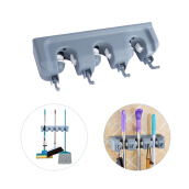 Wall Mounted Mop Storage Rack Broom Hanger with 6 Hooks
