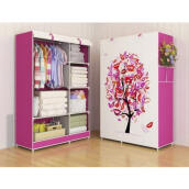 RADYSA Lemari Pakaian Portable 2 Layer - Pink Tree