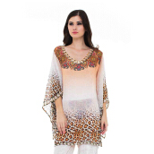 DEVAIN KAPOOR Journey To Sahara Box Sleeve Blouse - Light Orange