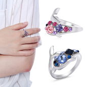 Cute Rhinestone Dolphin Shape Plated Polished Women Ring