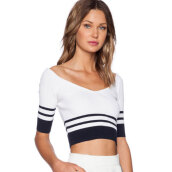 Women's Sweet White V-Neck Striped Sweater