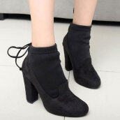 Trendy Black Solid Flock Boots