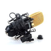 Black Plastic Microphone Shock Mount Stand Holder with Integrated Pop Filter Kit