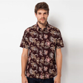 A&D Mens Batik Short Sleeve Ms 710B - Brown