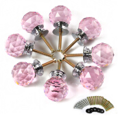 8 X LS-A010 30MM Pink Crystal Glass Door Knob + Screw