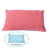 PILLOW PEOPLE Deco Cushion - Baby Blue & Checker Red/30x50cm