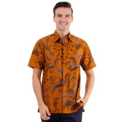 DANAR HADI Mens Short Sleeve Batik LLCG6 - Brown