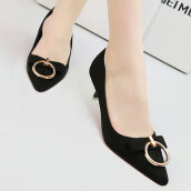 Cute Black Solid Flock Pumps