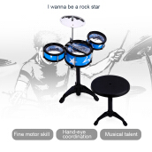 Wanyi Kids Jazz Drums Kit Musical Instrument Toy-Blue