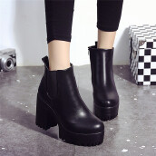 BESSKY Women Boots Square Heel Platforms Leather Thigh High Pump Boots Shoes -