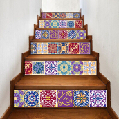 Tile Decals Mexican Traditional Stair Stickers 7.1 x 39.4 inch 6pcs Red