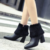 Lovely Black Solid PU Boots
