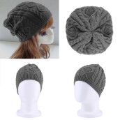 [Kingstore]Women Warm Winter Beret Braided Baggy Beanie Knitted Crochet Hat SKI Cap