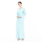 LUIRE Long Sleeve Satin Long Dress - Blue