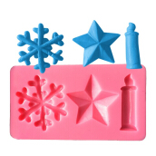 AK Christmas Candles Stars Snowflake Cake Decorating Silicone Moulds Pink