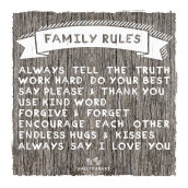 NAIL YOUR ART Family Rules Wall Sign Gantungan Dinding/40x40Cm