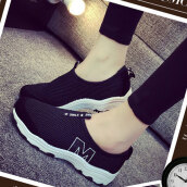 Cute Black Solid Cloth Sneakers
