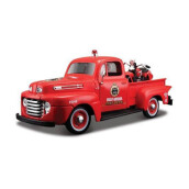 MAISTO 1:24 Ford F-1 Fire Dept. Pickup Knucklehead motorcycle - 32191