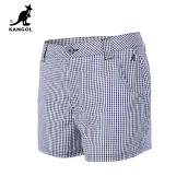 Kangol- Checked shorts and women's summer casual trousers with a slim waist and slim cotton, Wear clothes outside- White Black