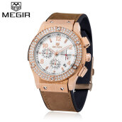 MEGIR 2034G Women Quartz Watch Artificial Rhinestone Dial Date Display Working Sub-dial Wristwatch