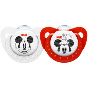 NUK Mickey Silicone Soother 2pk 0-6 month  - White & Red