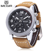 MEGIR M2026 Male Quartz Watch Date Display Three Working Sub-dials Wristwatch