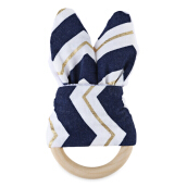 1pc Sweet Wood Teeth Wing Ring for Babies(Navy Blue)