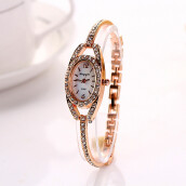 BESSKY Fashion Women Lady Bracelet Stainless Steel Crystal Quartz Watch- Gold