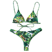 Tropical Print Plunge Bikini Set