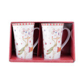 222 FIFTH Tall Mug - Set of 2 - Christmas Play Reindeer