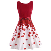 Petal Print Party Semi Formal Red Dress