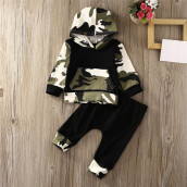 BESSKY 2Pcs Toddler Infant Baby Boy Clothes Set Camouflage Hooded Tops+Pants Outfits_