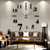 Modern 3D Frameless  Wall Clock Style Watches Hours DIY Room Home Decorations Model