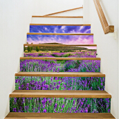 3D Lavender Waterproof Stair Stickers 7.1 x 39.4 inch 6pcs Multicolor