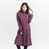 MIYOSHI JEANS MY17SH010PN Checkers Long Shirt - Red