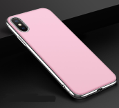 Reys R-24 Plating hardshell Surface scrub treatment transparent anti-fall super thin IPHONE X case cover-Pink