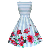 Zaful Vintage Party Dress Woman boat neck Sleeveless 50s Blue and White Stripe Dress Plus Size Flamingo Print Swing Dress