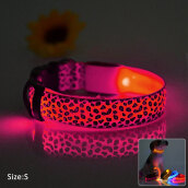 Dog Glow Flashing LED Collar Leopard Print Design Puppy Necklace Luminous Pet Decors