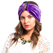 LUIRE Turban Velvet Purple  [One Size]