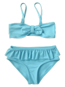 Frilled Bow Kids Bikini Set