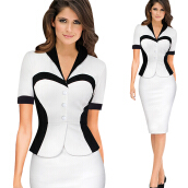 Kenancy Elegant Lapel Colorblock Optical Illusion Patchwork Faux Twinset Wear to Work Office Sheath Bodycon Dress