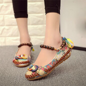 BESSKY Women Ethnic Beading Round Toe Colorful Casual Embroidered Cotton Shoes _