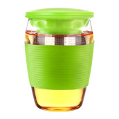 MORI PEPPERMINT Glass Tea Infuser Mug w/ Silicone 430ml G031B-Green