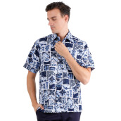 SALT N PEPPER Mens Short Sleeve Batik SNP 241 - Blue