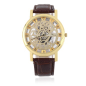 Cool Design Hollow Out Transparent Dial PU Leather Wrist Watch Gift New